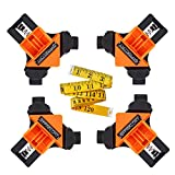 4pcs 90 Degree Adjustable Right Angle Clamp, Right Angle Clip Fixer, Fixing Clips Picture Frame Corner Clamp Woodworking Corner Clip Positioning Fixture Tools (4pcs+Measuring ruler)