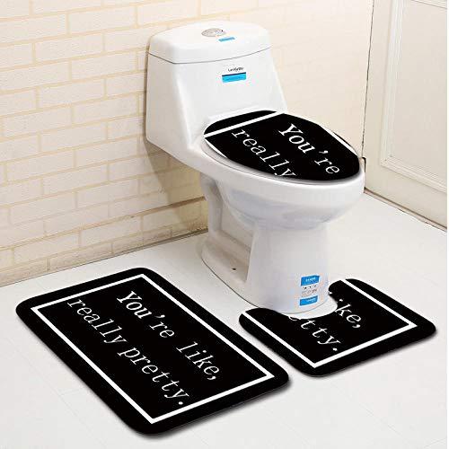 FGHJSF Alfombras de Baño Letras Negras 3 Alfombrillas de Secado rápido, Alfombra de baño de Secado rápido, Alfombra de Pedestal + Tapa de Inodoro + Alfombrilla de baño