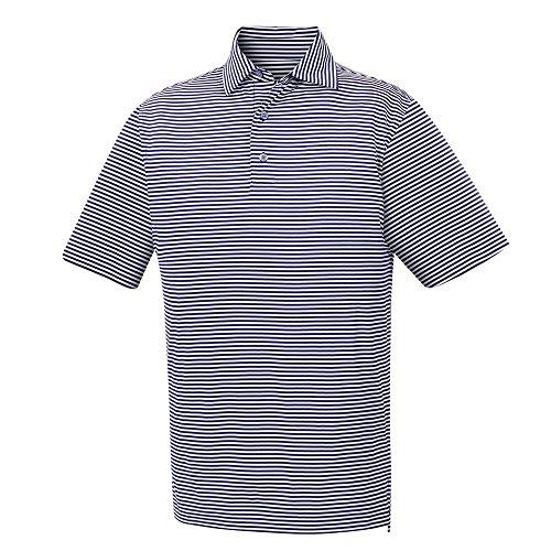 FootJoy Men's Lisle Feeder Stripe Self Collar Golf Shirt Navy/White Size Large