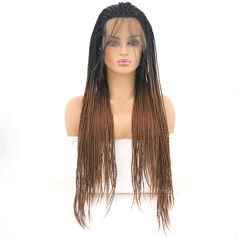 YAR-HWIG Women's 16 inch Lace Front Wigs,Gradient with Heat Resistant Crochet Twist Braiding Wigs,High Temperature Fiber Hair Long Twists Braids Wig 200% Density for Women Party Long Wig