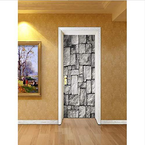 XSLIVE Türaufkleber Türausgangsaufkleber-Schlafzimmerwohnzimmerkorridortürdekoration Der Schwarzweiss-Steinwandfliese Kreative Größe:77cm*200cm