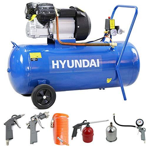 Hyundai HY30100V 3hp V-Twin Direct Drive Electric Air Compressor 14cfm, 100 Litre Steel Tank, Blue,...