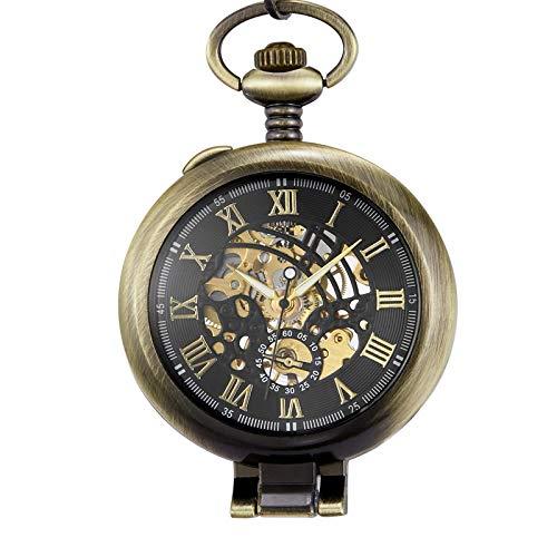 DSHUJC Reloj de Bolsillo, Cubierta Transparente Reloj de Bolsillo mecánico Hombres Moda Retro Casual Esqueleto Dial Plata Mano Viento Hombre Fob Relojes de Cadena