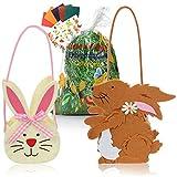 COM-FOUR® Set di 5 decorazioni e regali per Pasqua - Borsa in feltro XL, erba di Pasqua verde, adesivi pasquali, carte da colorare - perfetta per le uova di Pasqua (5 parti - borsa in feltro con erba)