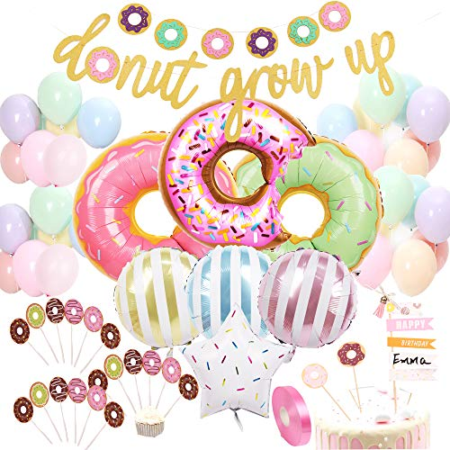 foci cozi 58 Pack Donut Birthday Party Set Decorations Kit Donut Grow Up Banner Mylar Foil, Latex Balloons Cupcake, Cake DIY Toppers for Donut Birthday Party Decorations