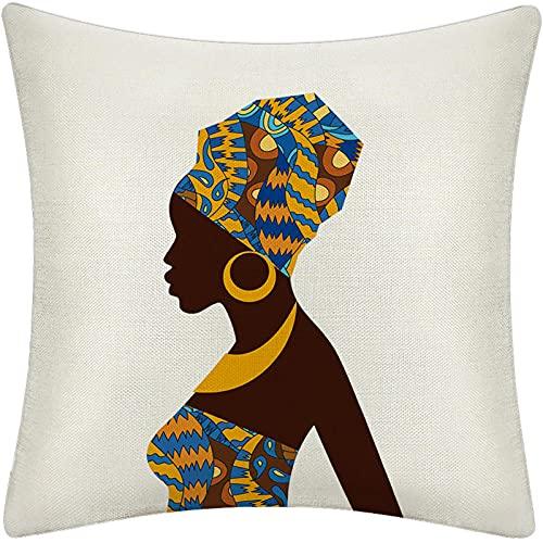 Funda de Cojín Ropa de Cama Cuadrado con la Cremallera Invisible Funda de Almohada del Sofá Decorativos para Cama Coche Hogar Pendientes Egipcios Amarillos Sin Relleno 45x45cm