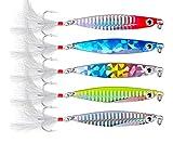 WYMAODAN Juego de señuelos de Pesca, 5 Piezas de Cuchara de Lentejuelas de Metal para señuelos de Pesca con Cebo Duro para Cebo de Lago Marino, Herramienta para Pesca de salmón, Trucha de Agua Dulce
