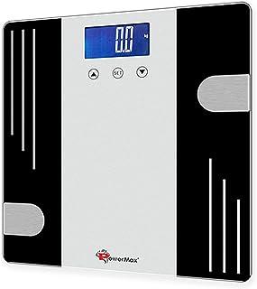 PowerMax Fitness® BCA-07 Digital Body Composition Analyzer, Silver Black, Foot Size : 12