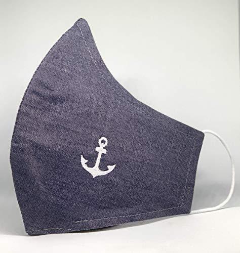 Mund und Nasenbedeckung mit Anker bestickt waschbar blau im Jeanslook mit Fach für FFP Filter an der Unterseite 100% Baumwolle hergestellt in Deutschland mit Gummibänder