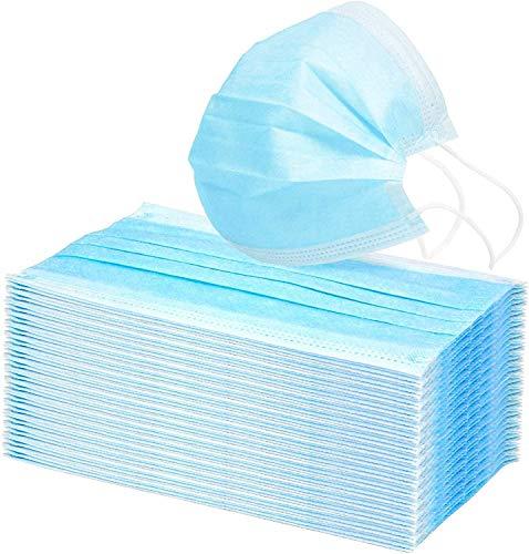 10 stuks wegwerp 3-ply gezichtsmasker mannen gezichtsmasker kinderen masker ademhaling medische maskers wegwerp gezichtsmaskers filter veiligheidsmasker (volwassen grootte, Blue)