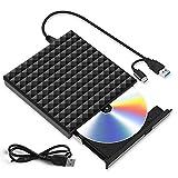 Grabadora CD DVD Externa, Lector Unidades de Discos Externos USB 3.0 Tipo C, Ultra Slim Disquetera CD Player Rewriter para Ordenador Portátil, Computadora, PC Compatible con Win10/8/7/ Linux/Mac OS