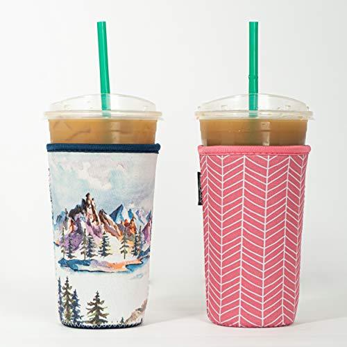 Wiederverwendbare, isolierte Neopren-Hülle für Eiskaffee, Getränkehalter für kalte Getränke, für Starbucks Kaffee, McDonalds, Dunkin Donuts, Tim Hortons und mehr, 2 Stück