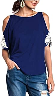 MK988 Women's Short Sleeve Cold Shoulder Lace Stitching T-Shirt Top T-Shirt Blouse