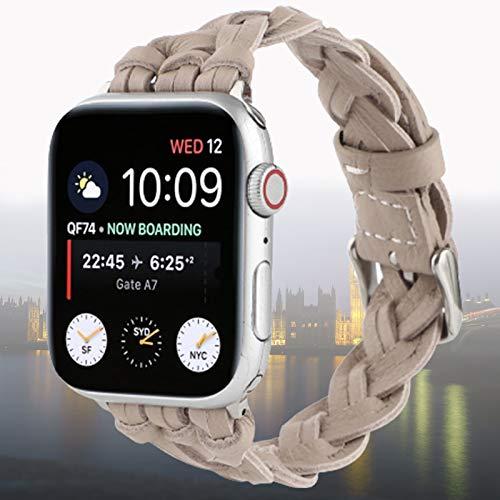 Compatible con Apple Watch Band 42 mm 44 mm, Correa de Pulsera Tejida Hecha a Mano de Cuero Genuino Compatible con iWatch Series 6 5 4 3 2 1 SE,38mm/40mm