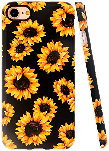 A-Focus Case for New iPhone SE Case Sunflower 2020, iPhone 8 Case Sunflower, iPhone 7 Case, Frosted Flowers Texture Series IMD Flexible TPU Case for iPhone SE/8/7 4.7 inch Matte Sunflower Yellow
