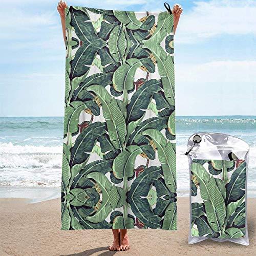 Toallas de Playa sin Arena Hoja de plátano Toallas de Playa de Secado rápido Toalla de baño Toalla de Playa de Viaje, Toalla Deportiva de natación al Aire Libre para Mujeres Hombres