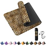 GHIUAN Yoga Mat, Inch TPE Non-Slip Thick Yoga mats for Women Workout Exercise Mat, Eco Friendly Fitness Mat for Training, Yoga, Exercise with Carrying Strap & Storage Bag (Deep leopard)