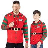 Noroze, maglione natalizio da uomo con cappuccio, design elfo Hoho con motivo bastoncino Candy Cane 3D, lavorato a maglia, per ragazzi, per il Natale in famiglia Elfo Hoho Rosso L