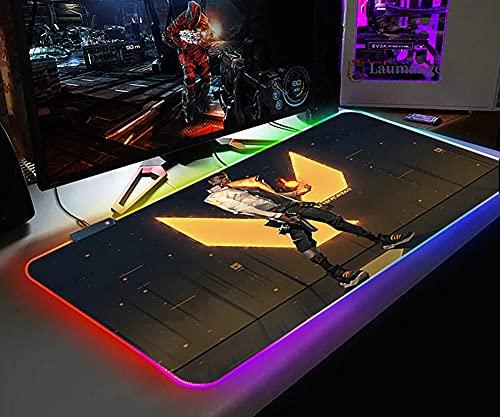 Alfombrillas de ratón RGB Valorant, Alfombrilla de ratón Antideslizante, LED XL, Superficie Antideslizante de Goma, Teclado Juegos Duradero, Alfombrilla Tableta, 700X300X4MM