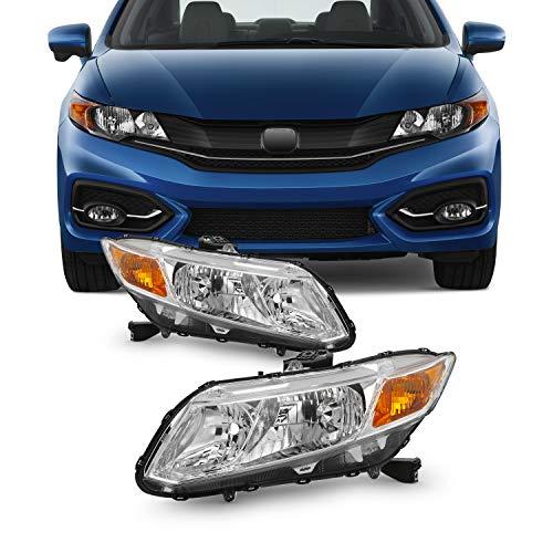 Fits 2012-2015 Honda Civic 4Door Sedan 12-13 Civic 2Door Coupe Headlights Headlamp Left+Right Pair