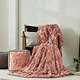 Marseille Home & Decor - Silky & Soft Faux Fur Throw Blanket, Luxury Double-Sided 60' x 79', 800 GSM, 15mm Microfiber(Polyester), Dusty Rose, Made in Korea