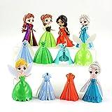 12 Piezas Princesa Figuras Vestido Cambiable Anna Elsa Jasmine Tinkerbell Bella Durmiente Modelo Jug...