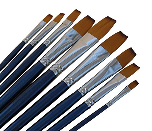 Artist Paint Brushes - F - Quality Black Tip, Golden Nylon, Long Handle, Flat Paint Brush Set - Ideal for Watercolor Painting and Gouache Painting, and Equally Useful for Acrylic and Oil Painting