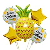 Morndew 5 PCS Happy Birthday Five-pointed Star Pineapple Foil Balloons for Hawaiian Beach Summer Tropical Themed Party Birthday Party Baby Shower Party Decorations