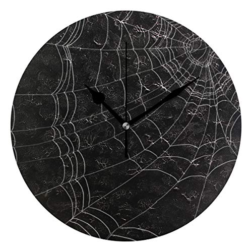 HCMusic Round Wall Clock with Goth Spider Web Print- Silent Non-Ticking Quartz Clock, Decorative for Office Living Room Bedroom, 10 Inch