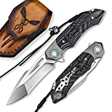 NEWOOTZ Skull Theme Folding Pocket Knife with Leather Sheath, Handmade Titanium Damascus Steel Decoration Handle,4in 58-60HRC Blade, EDC Cool Outdoor Tanto Point Knives for Men Women