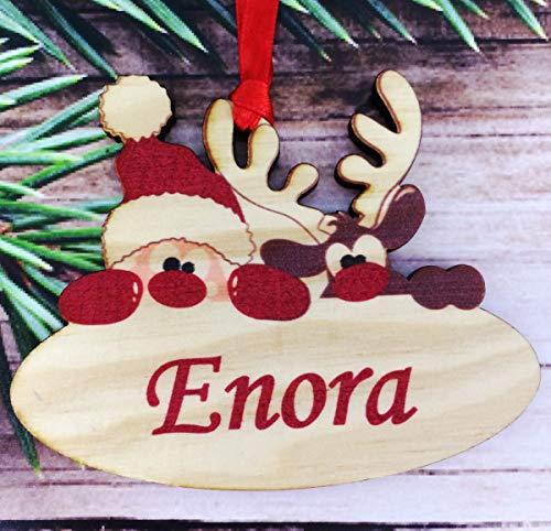 legno Palle di Natale Personalizzate con Nome - Palla per Albero di natale personalizzabile - pallina di Natale personalizzata - decorazione natalizia - Decorazione Natalizia in Legno Naturale