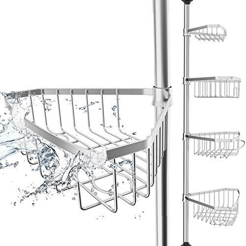EDELHAND© Teleskop Duschregal Edelstahl für Höhe von 105 bis 270 cm - Teleskopregal Bad für Dusche und Badewanne mit 4 Körben - Rutschfestes Teleskop Eckregal Dusche für Duschecke ohne Bohren