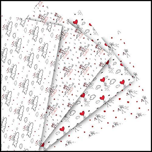 formKUNSTform Geschenkpapier – Strichmännchen Verliebt Set Valentinstag Verlobung Hochzeit Geburtstag Frauen Mädchen Freundin Premium nachhaltig 8x Bogen 42x119cm gerollt Aufbewahrung