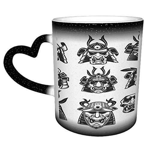 Samurai Masken und Helme auf weißem Hintergrund Designelement J Kaffee Keramikbecher...