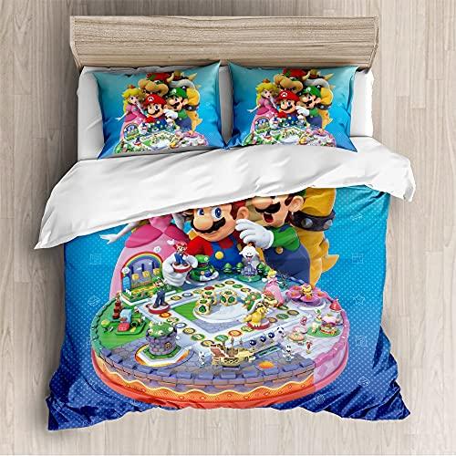 Proxiceen Super Mario - Juego de funda nórdica y funda de almohada (microfibra, estilo 10,220 x 240 cm + 80 x 80 cm)