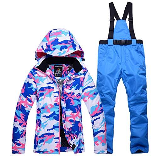DUBAOBAO Sneeuwpak voor dames, tweedehands snowboard pak Winddicht waterdicht warm ademend + afneembaar hoedenontwerp + broekriem afneembaar,