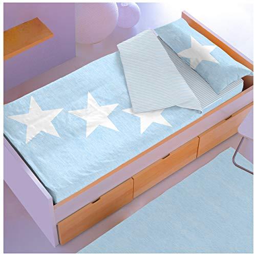 COTTON ART Saco nórdico Relleno Big Star Azul Celeste