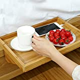 Natural Bamboo Bedside Shelf, Lacquered Bed Shelf Phone Stand for Kids` Bed Bunk Beds Organizer for Phones Tablet-a 25x36x9cm(10x14x4inch)