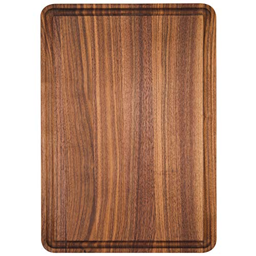 AZRHOM Small Walnut Wood Cutting Board for Kitchen 12x8 Cheese Charcuterie Board (Free Gift Box) Multipurpose Reversible Butcher Block with Non-slip Mats, Handles and Juice Groove