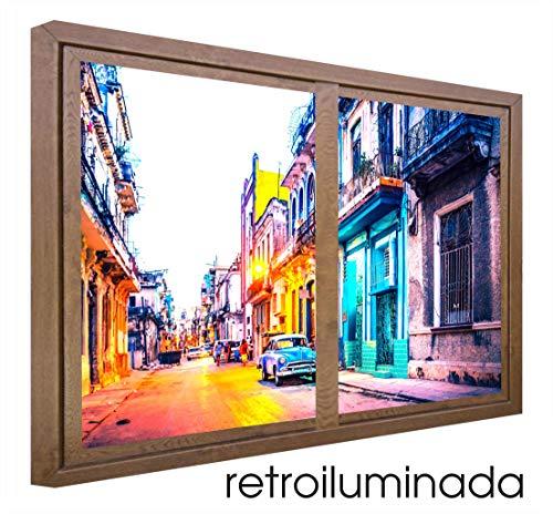 CCRETROILUMINADOS Cuba Cuadros Decorativos Ventanas Falsas Retroiluminadas, Metacrilato, Nogal, 80 x 80 x 6.5 cms
