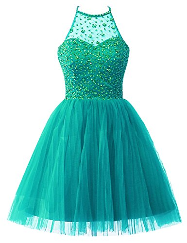 Homecoming Dresses Short for Junior Prom Dress Cocktail Evening Gowns Tulle Halter Beaded Sequins US 18W Turquoise