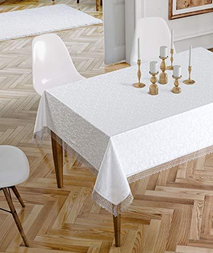 Jackline Tischdecke Abwaschbar- Hochwertig Gefertigtes Tischdecke aus 100% Polyester - Rechteckig Rund Lange Tischdecke Weiß Table Cloth Tischtücher (160 x 220 cm, Weiß)