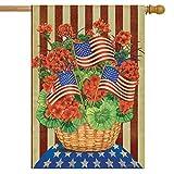 Briarwood Lane Patriotic Planter Geraniums House Flag Primitive Red White and Blue 28' x 40'