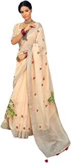 Weightless Traditional indian Linen Saree with Embroidery Butti Office Formal Sari Blouse 6821