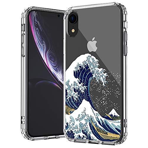 MOSNOVO Coque iPhone XR, Tokyo Wave Clair Design Motif Transparente Arrière avec TPU Bumper Gel Coque de Protection pour iPhone XR (Tokyo Wave)