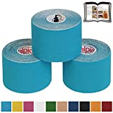 BB Sport 3 Rolls Kinesiology Tape 5 m x 5 cm E-Book Application Examples Muscle Support Elastic Strapping Tape, Colour:Light Blue