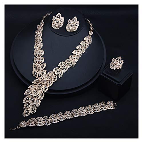 LPZW Modelos explosivos Europa y América Collar exagerado Anillo de Oreja Pulsera Joyería de Anillo de Cuatro Piezas Pluma de Oro Diamante Diamante Joyería Traje de Asiento Accesorios Femeninos