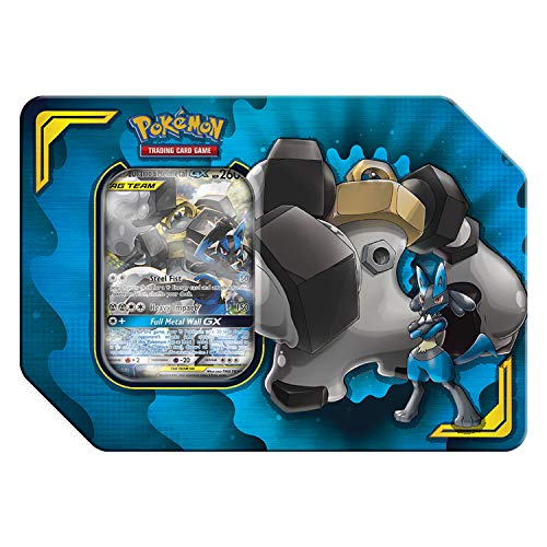 Pokemon 728192504983 TCG: Tag Team Lucario & Melmetal Tin | 4 Booster Pack | 1 Metal Tag Team Gx Marker | 1 of 3 Foil Tag Team Pok