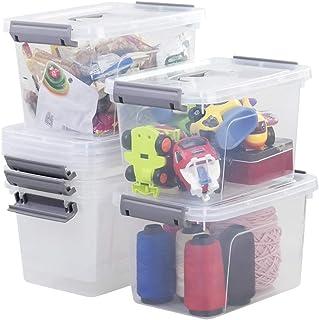 Sandmovie Contenedores de Plástico para Almacenamiento con Tapas y Asas Cajas Pequeñas, Transparentes y Grises, 6 Paquetes
