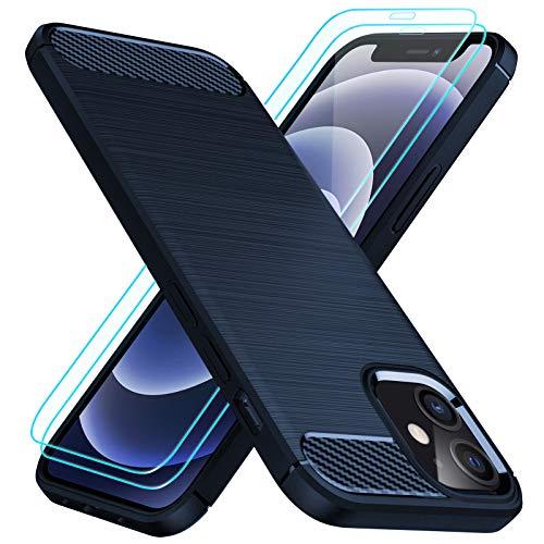 TesRank Funda Compatible con iPhone 12 Mini + 2 Pack Cristal